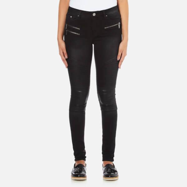 Karl Lagerfeld Women's Denim Biker Pants - Fading Black