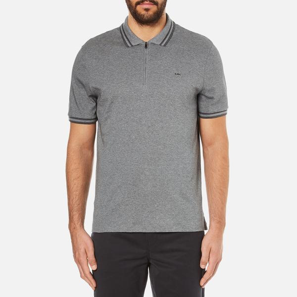 Michael Kors Men's Double Collar Zip Polo Shirt - Ash Melange