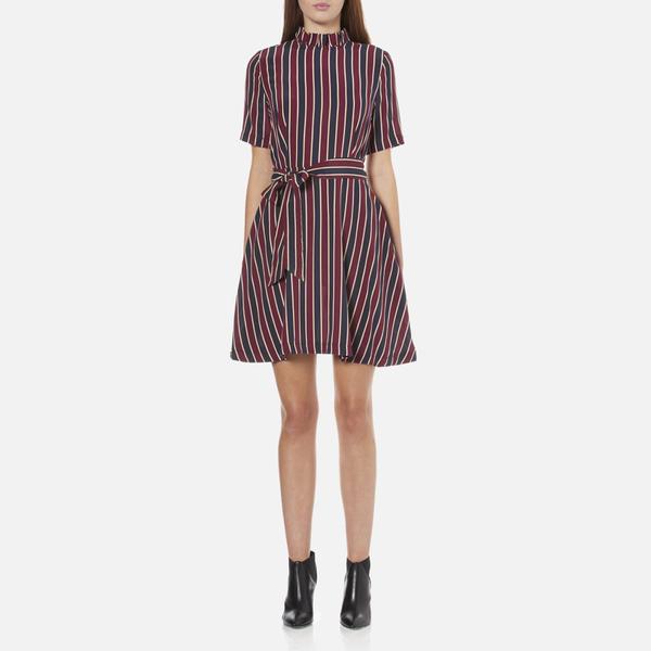 Ganni Women's Donaldson Silk Stripe Dress - Cabernet Stripe