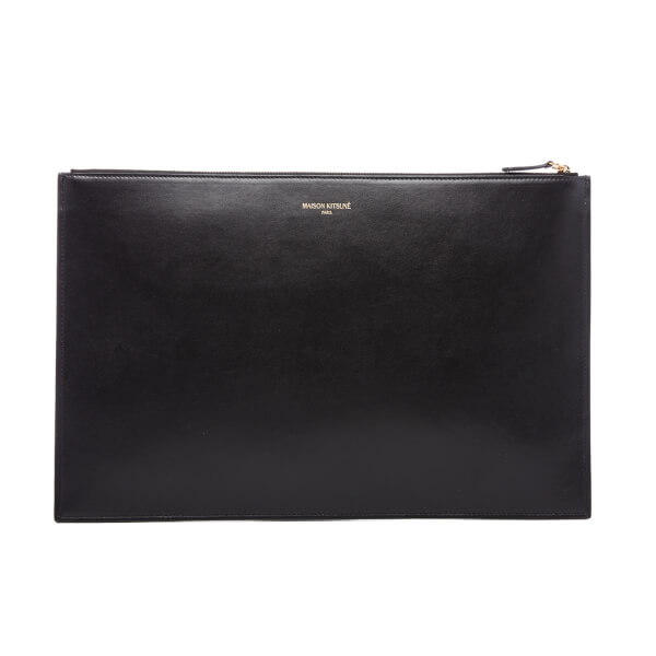 Maison Kitsuné Men's Tricolor Leather Portfolio - Black