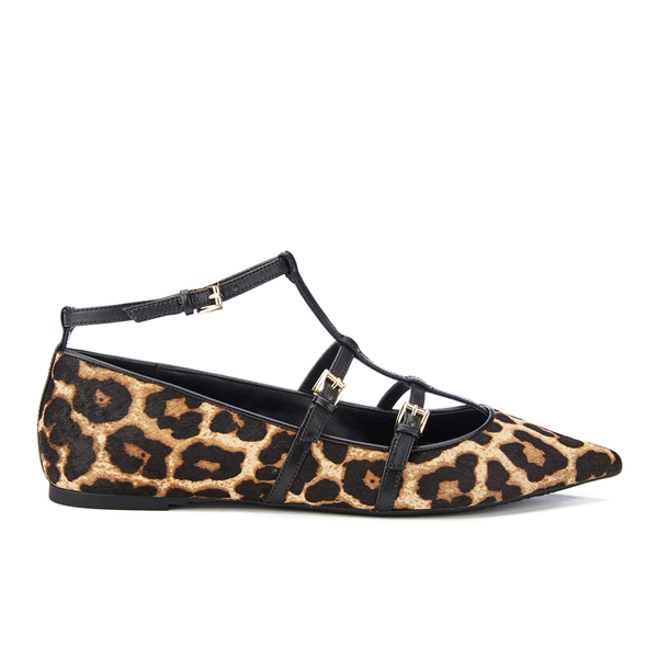 MICHAEL MICHAEL KORS Women's Marta Leopard Calf Pointed Flats - Natural