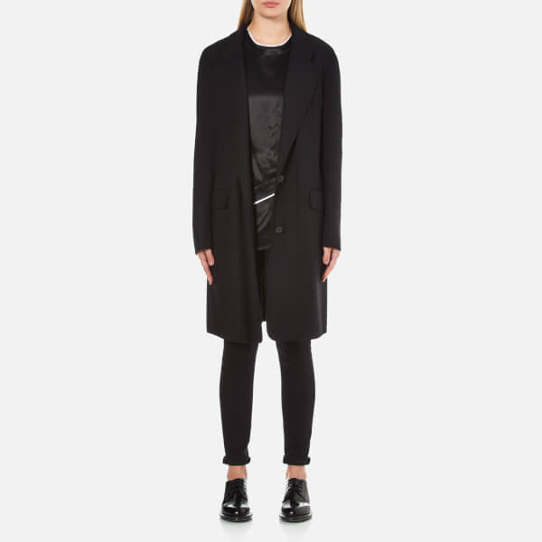 DKNY Women's Long Sleeve Notch Collar 2 Button Coat - Black