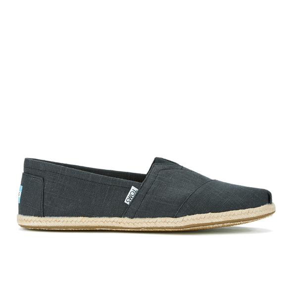 TOMS Men's Seasonal Classic Slip-On Pumps - Black Linen with Rope