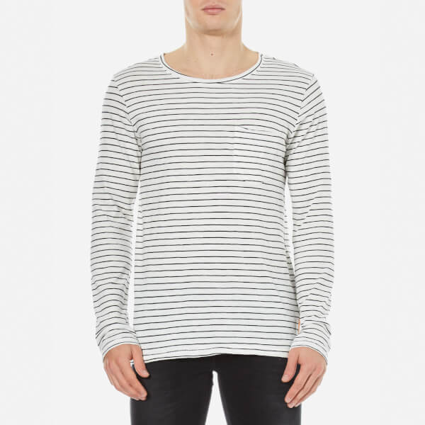 Nudie Jeans Men's Orvar Pocket Long Sleeve T-Shirt - White/Black