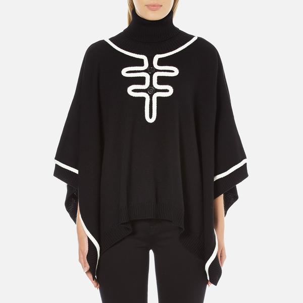 Boutique Moschino Women's Contrast Detail Cape Jumper - Black