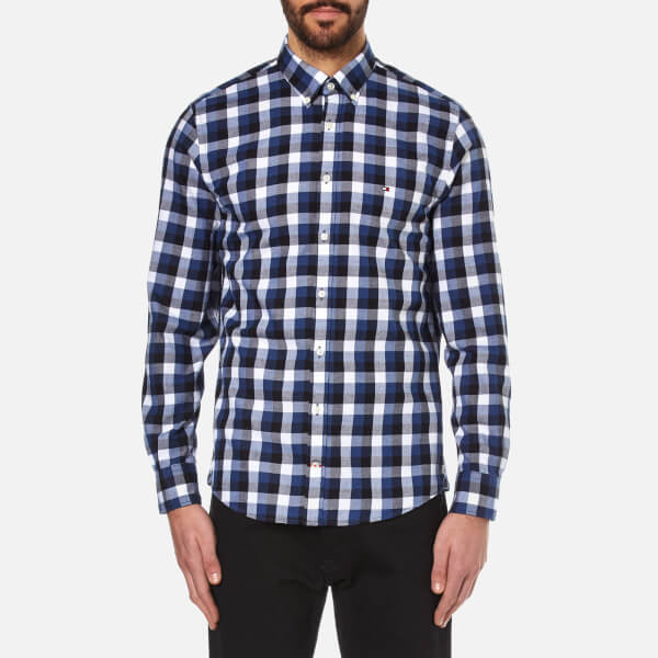 Tommy hilfiger men 39 s gingham twill long sleeve shirt for Tommy hilfiger gingham dress shirt