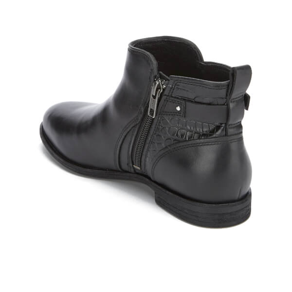 Beautiful Lyst - Dune Petrie Black Leather Ridge Flat Ankle Boots In Black