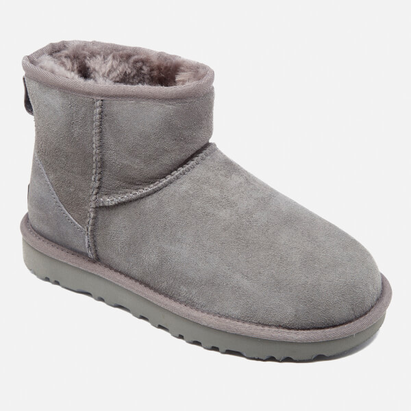 Ugg Womens Classic Mini Ii Sheepskin Boots Grey Free Uk