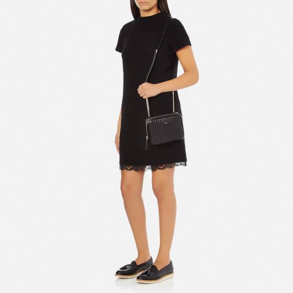 5887f30af8 DKNY Women s Gansevoort Pinstripe Quilted Square Crossbody Bag - Black   Image 2