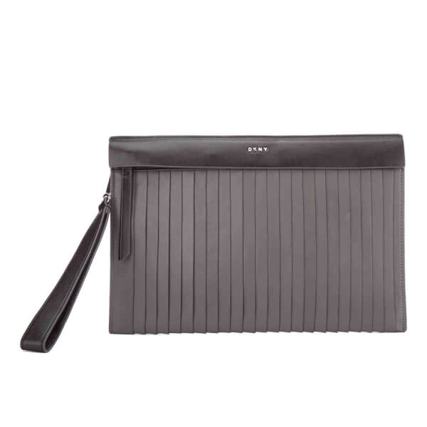 DKNY Women's Stripe Pleats Clutch Bag - Dark Charcoal/Black
