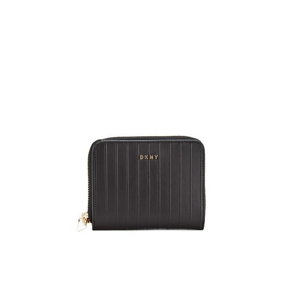 DKNY Women's Gansevoort Pinstripe Small Zip Around Purse - Black