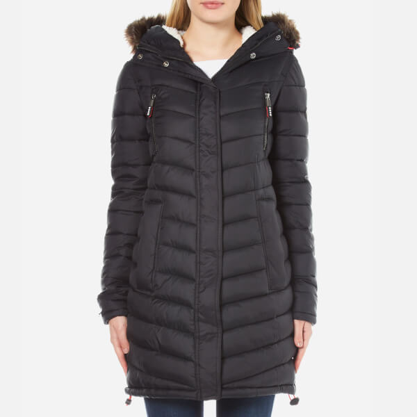 Superdry Women S Chevron Fur Super Fuji Jacket Black
