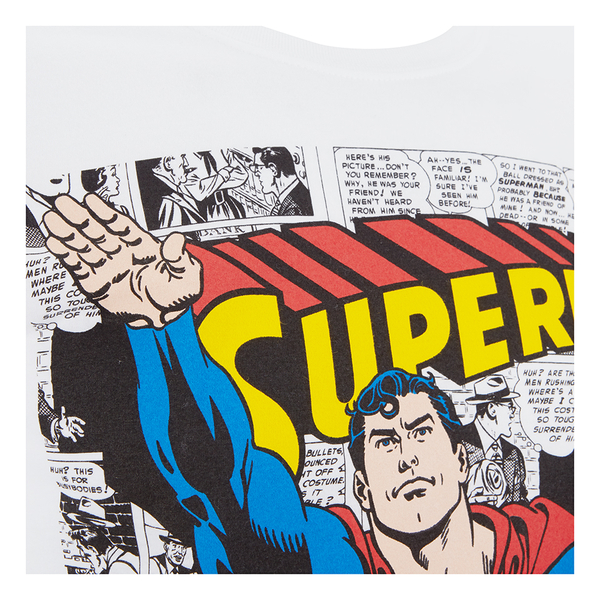 Dc comics men 39 s superman comic strip t shirt white my for Comic t shirts online