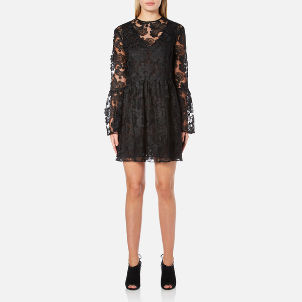 Perseverance Women's Drop Waist 3D Embroidered Mini Dress with Flare Sleeves - Black
