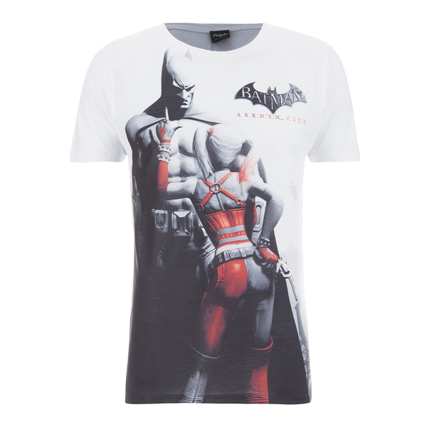 DC Comics Men's Batman and Harley Quinn T-Shirt - White