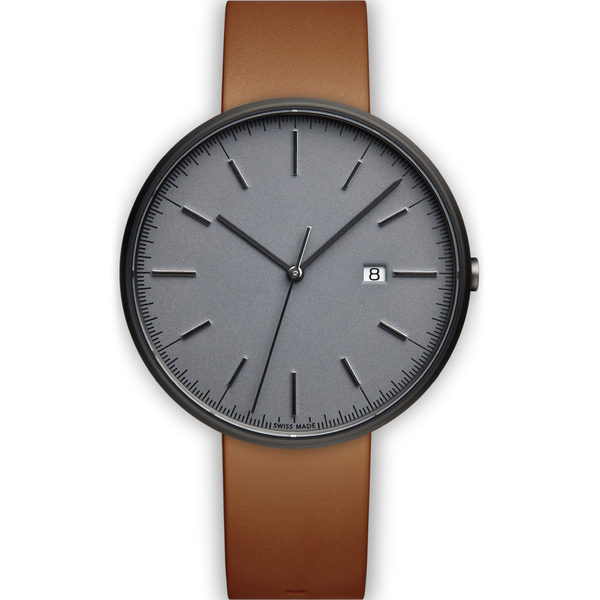 Uniform Wares Men's M40 Pvd Grey Italian Nappa Leather Wristwatch - Tan