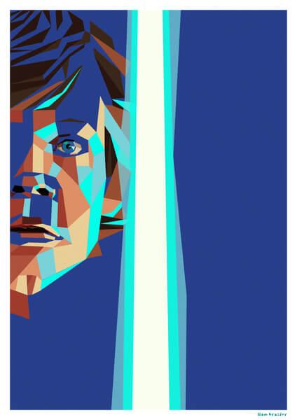 Affiche Géométrique Star Wars Luke Skywalker - Fine Art