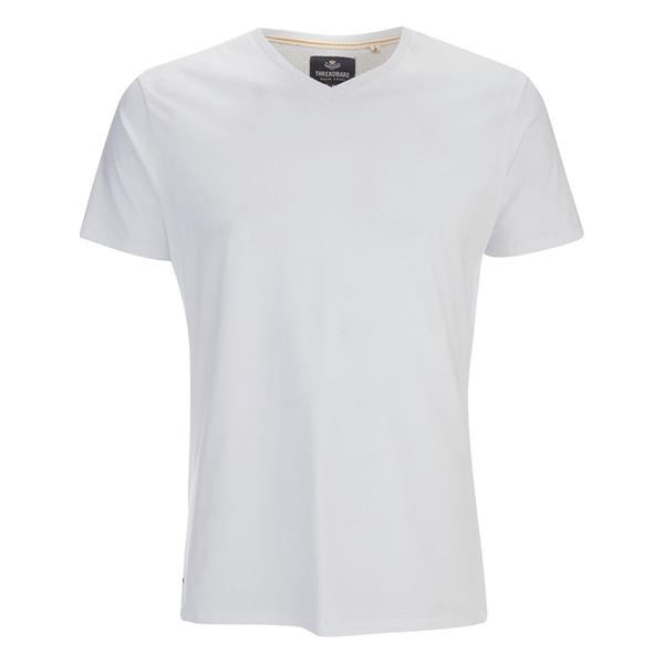 Threadbare Men's Charlie Plain V-Neck T-Shirt - White