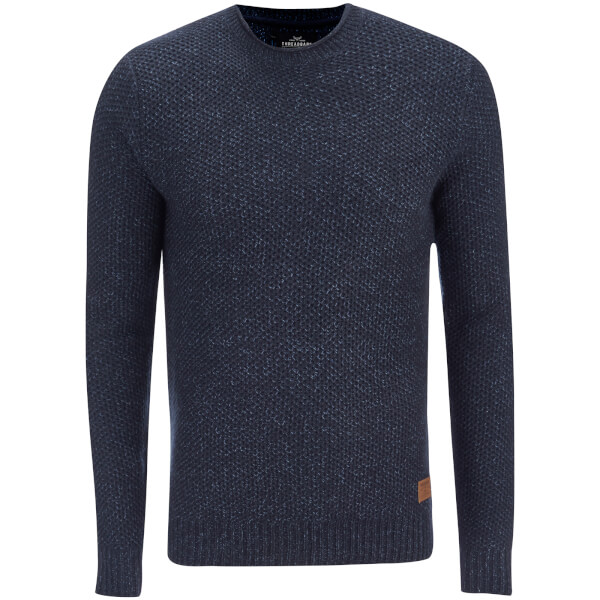 Threadbare Men's Potter Twist Yarn Fisherman Jumper - Rich Navy/Denim