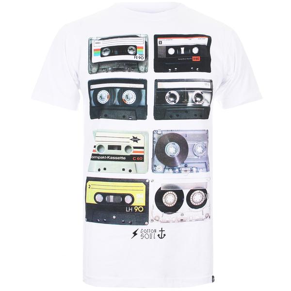 T-Shirt Homme Coton Soul Retro Tapes -Blanc