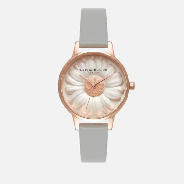 Olivia Burton Women's 3D Daisy Watch - Grey/Rose Gold