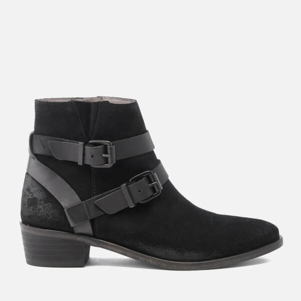 Hudson London Women's Meeya Suede Buckle Heeled Ankle Boots - Black