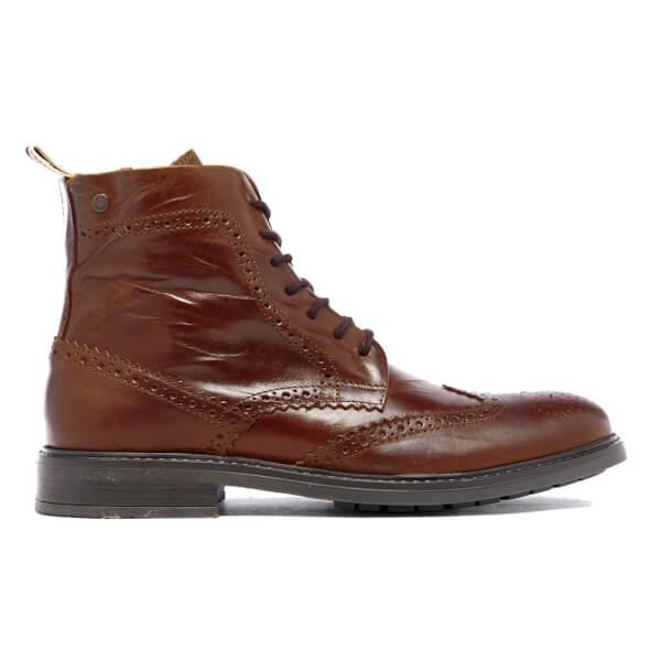 jones s hugh leather brogue boots cognac mens