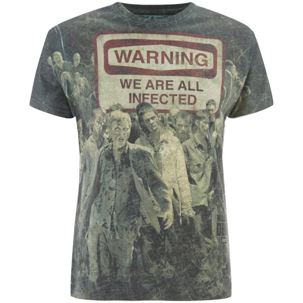 The Walking Dead Men's Warning Sublimation T-Shirt - Black