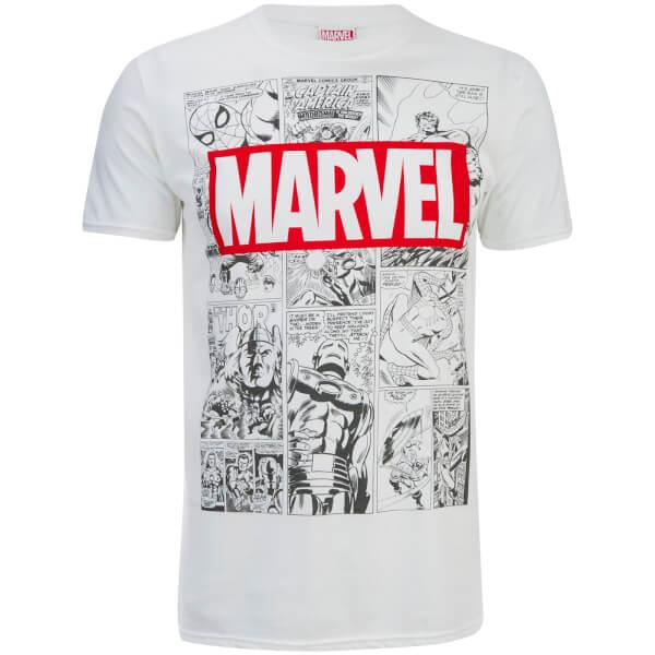 marvel men 39 s mono comic t shirt white merchandise. Black Bedroom Furniture Sets. Home Design Ideas