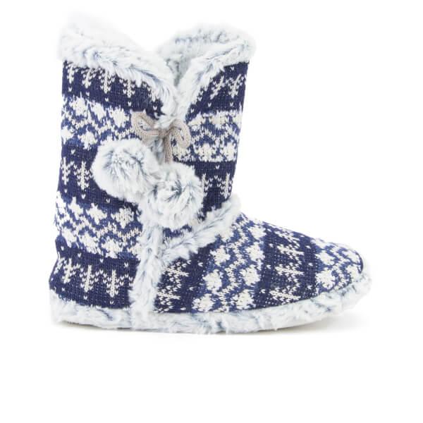 Dunlop Women's Abelle Fairisle Slipper Boots - Navy | IWOOT