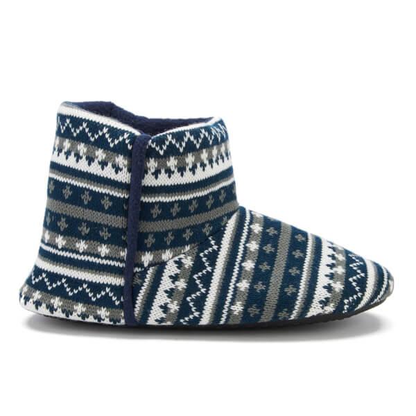 Dunlop Men's Adnet Fairisle Slipper Boots - Navy | IWOOT
