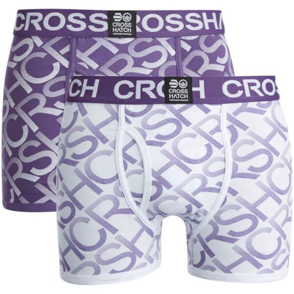 Lot de 2 Boxers Crosshatch Equalizer -Violet/Blanc