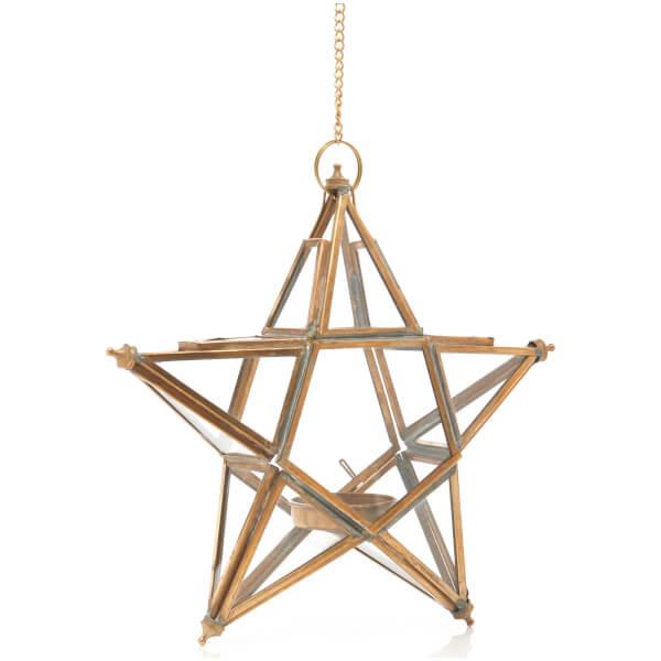 Nkuku Small Glass Hanging Star Antique Brass Iwoot