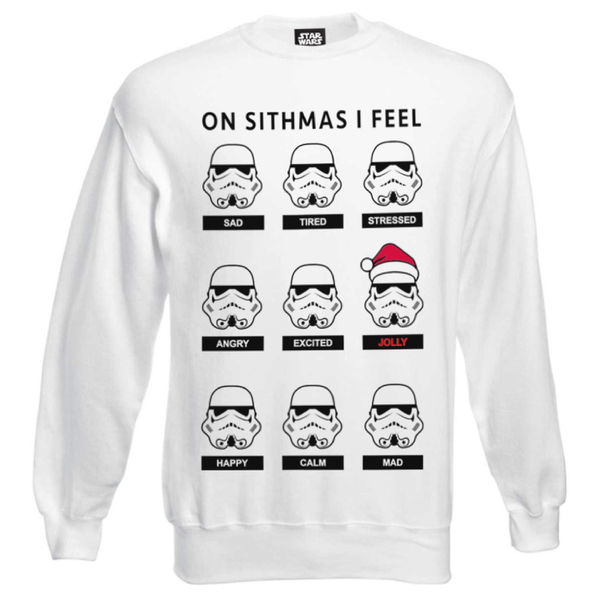 Star Wars Men's Stormtrooper Emotions Christmas Sweatshirt - White