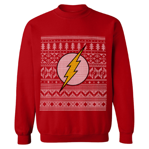 DC Comics Men's The Flash Christmas Fairisle Sweatshirt - Red