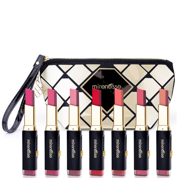 Mirenesse Maxi-Tone Lip Bar Complete Collection + Limited Edition Makeup Bag (8 Piece)