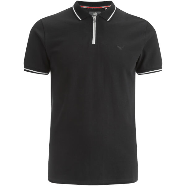 Threadbare Men's Redcar Short Sleeve Zip Polo Shirt - Black