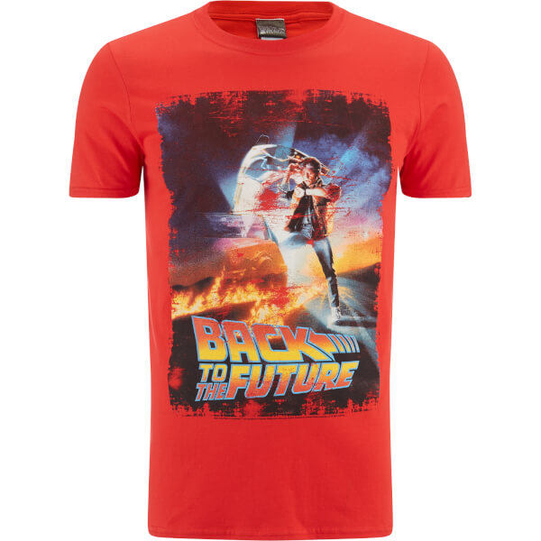 Back to the Future (Zurück in die Zukunft) Herren Distressed Poster T-Shirt - Rot