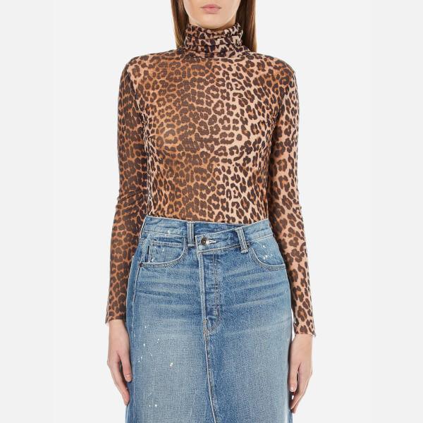 Ganni Women's Olivet Mesh Leopard High Neck Top - Leopard