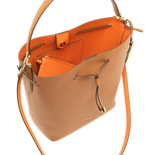 29941d3fa40f Lauren Ralph Lauren Women s Dryden Debby Drawstring Bag - Field  Brown Monarch Orange  Image