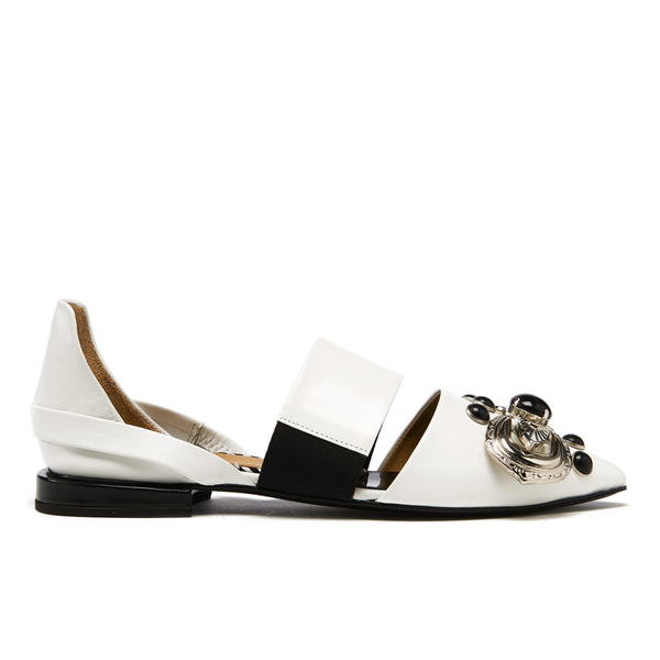 Toga Pulla Women's Leather Jewelled Toe Pointed Flats - White