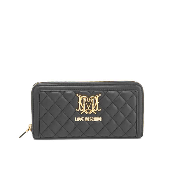 Love Moschino Women's Quilted Zip Around Purse - Black