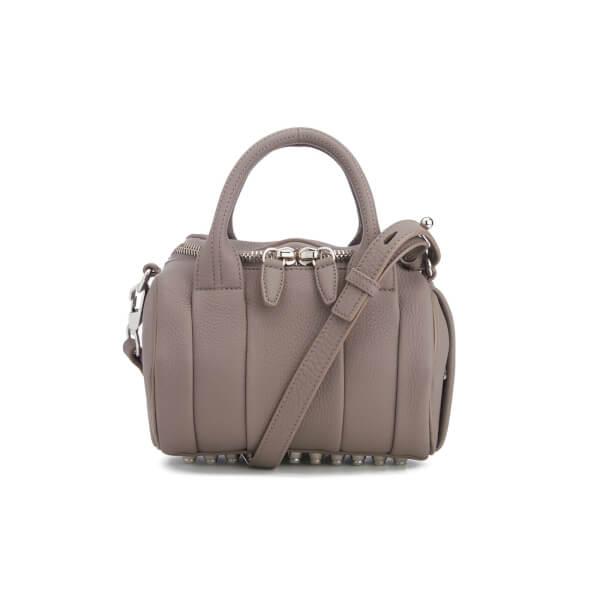 Alexander Wang Women's Mini Rockie Pebbled Leather Stud Detail Bowler Bag - Mink Grey