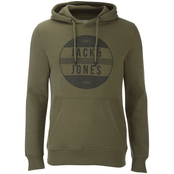 Jack & Jones Men's Core Trevor Graphic Hoody - Deep Green