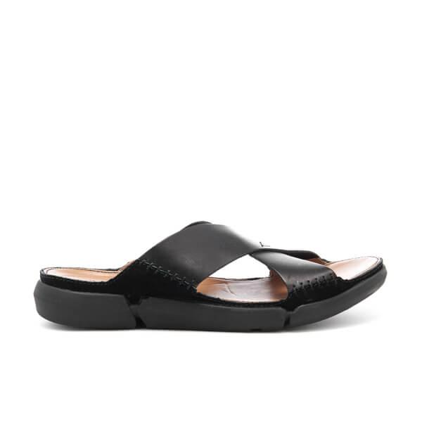 Clarks Men's Trisand Cross Leather Sandals - Black