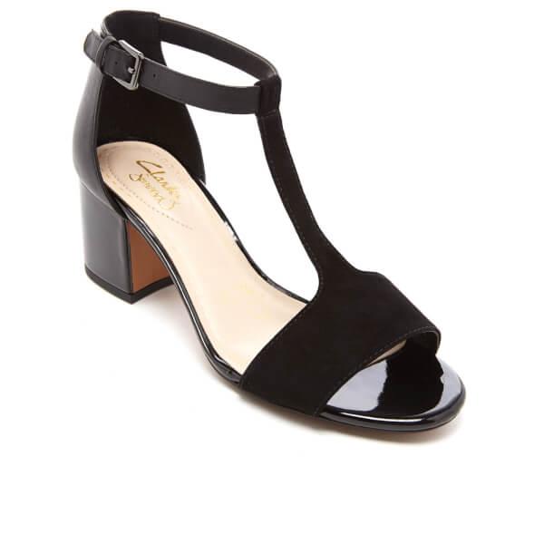 31e3e7fb989 Clarks Women s Barley Belle Leather T Bar Mid Heels - Black Combi  Image 2