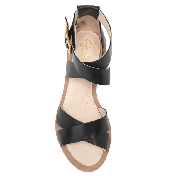 e7d95df391e3a2 Clarks Women s Sandcastle Ray Leather Strappy Sandals - Black  Image 3