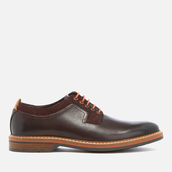 Clarks Men's Pitney Walk Leather Derby Shoes - Dark Brown