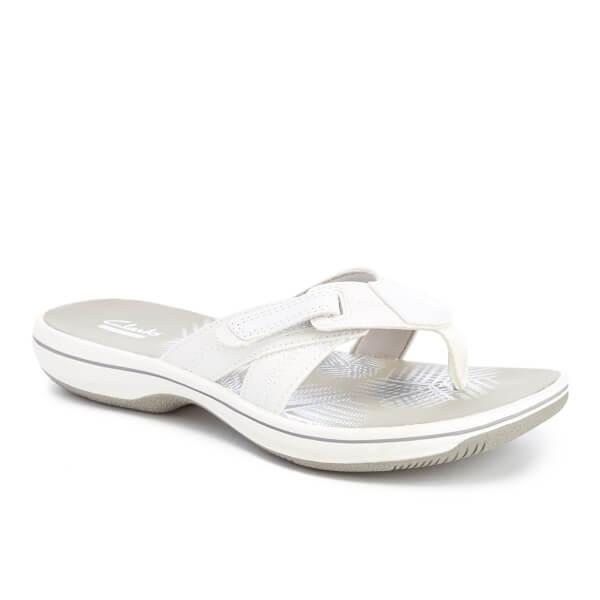 9a74c21aa81c73 Clarks Women s Brinkley Calm Toe Post Sandals - White Combi  Image 2