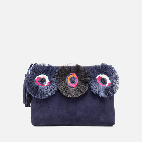 a6039694fc84 Loeffler Randall Women s Floral Embroidered Tassel Pouch Suede Clutch Bag -  Eclipse Multi  Image 1